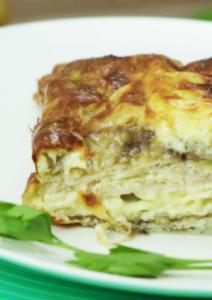 Práctica receta de Tortilla de berenjena con jamón de pollo light
